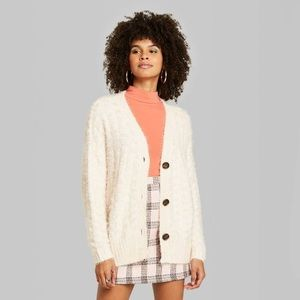 NWT SOFT Button-Front Oversized Cardigan Cream